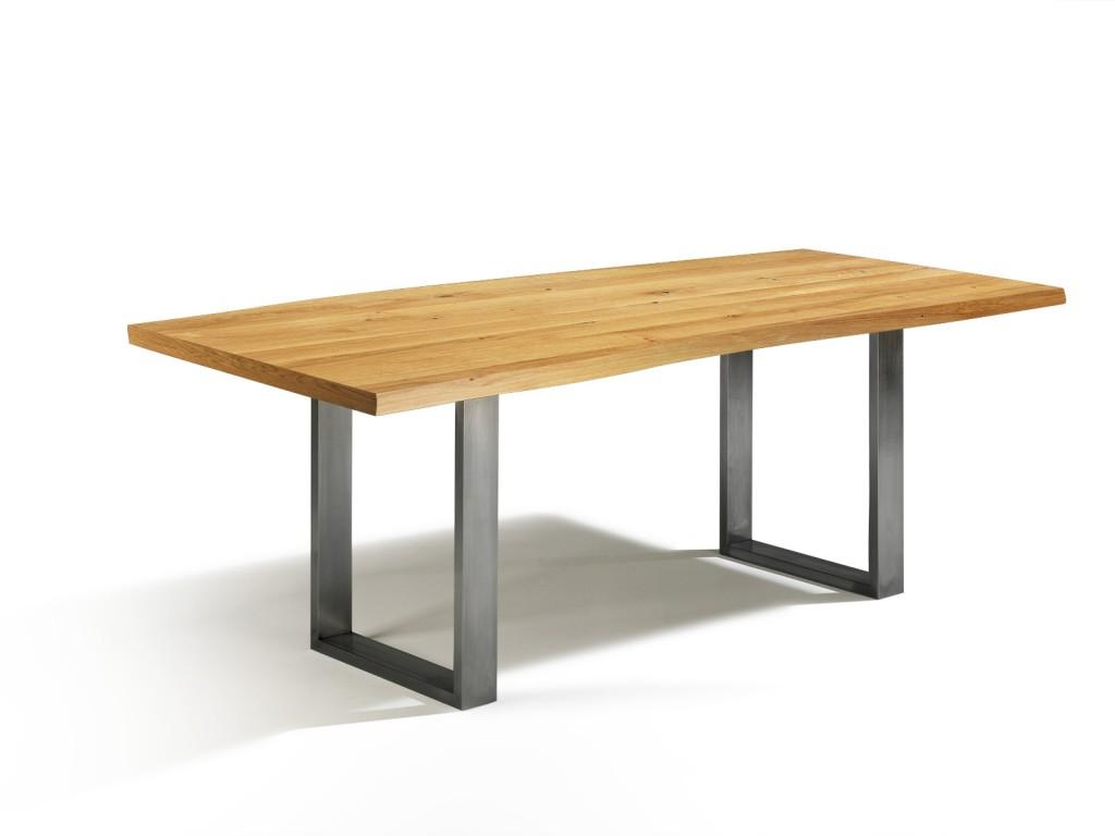 neu baumkante tisch mit edelstahlf en talca esstisch eiche in 160cm x 90cm. Black Bedroom Furniture Sets. Home Design Ideas