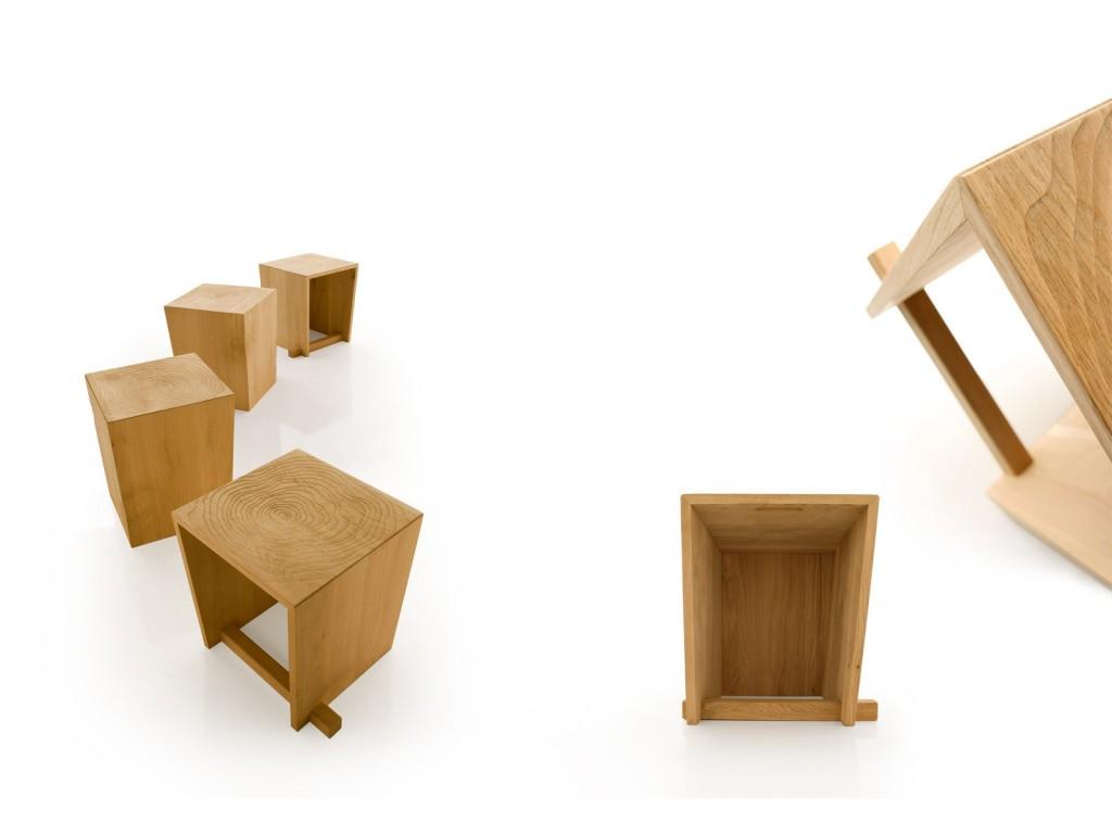 Eetkamer Massief Hout : Eettafel kruk uit massief hout in eik of knoesteik