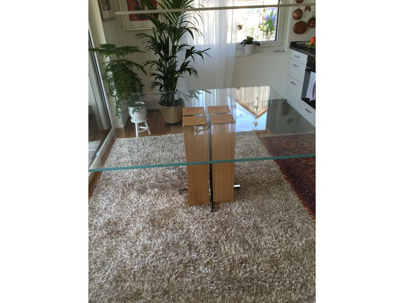 Esstisch Alira 2 Eiche 140cm X 140cm Geoelt Glassplatte Bild 1